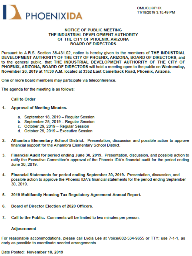 Phoenix IDA Board of Directors Public Meeting Notice - November 20, 2019