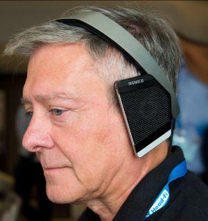Heinz Renner wearing his creation - MySphere 3 headhones