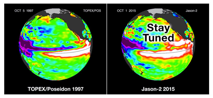 Heat sensors show that this Year's El Nino is already warmer than that in 1997