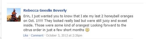 Rebecca Beverly's honeybell review October 1, 2013