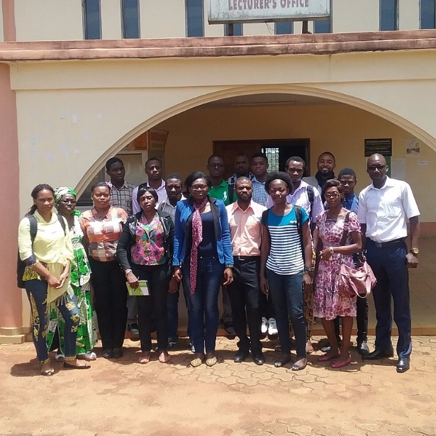 Catalyst Soazic Elise Wang Sonne and participants at her workshop in Cameroon.