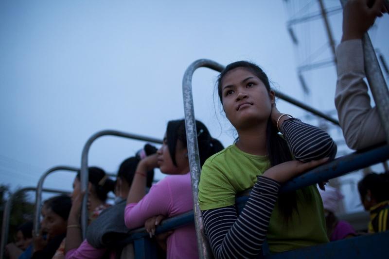 Dělnice z kambodžské továrny