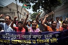 Demonstrace odborářů v ulicích Dháky