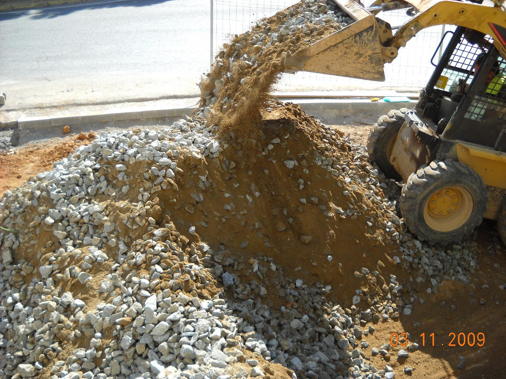 """Fotografia de la barreja """"in situ"""" del sòl estructural"""