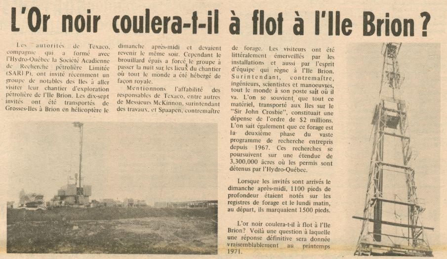 Source: Centre d'archives régional des Îles, Le Madelinot Vol. 5, no 21, 15 novembre 1970, p. 1