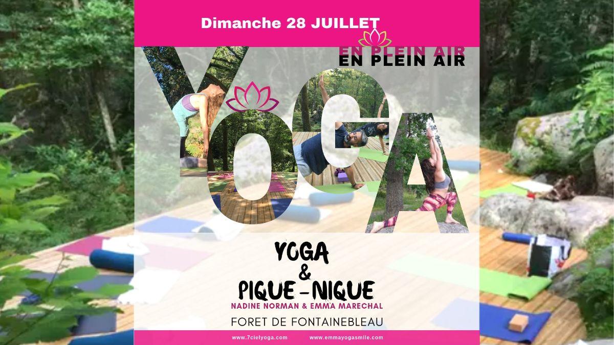 """Voir PDF FLYER : """"Journée Yoga & PicNic"""" en pleine airdans la forêt de Fontainebleau avec Nadine Norman et Emma Marechal •dimanche 28 Juillet •"""