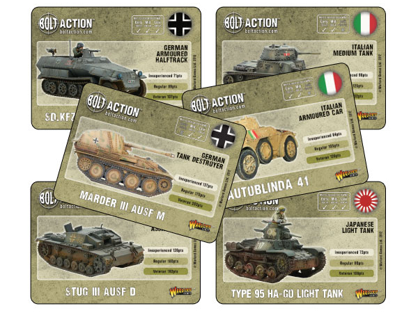 New Bolt Action Axis Vehicle Card Deck