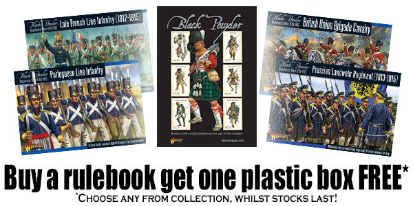Buy the Black Powder Rulebook Get One Plastic Box Free Banner