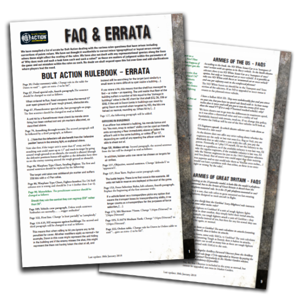 FREE New Bolt Action Errata & FAQ