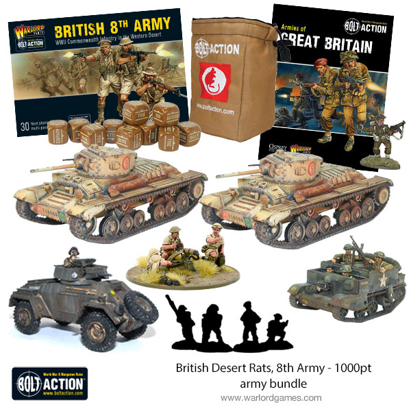 New Bolt Action British Desert Rats 8th Army 1000 Point Army Bundle