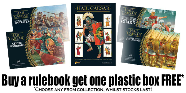 Buy the Hail Caesar Rulebook Get One Plastic Box Free Banner