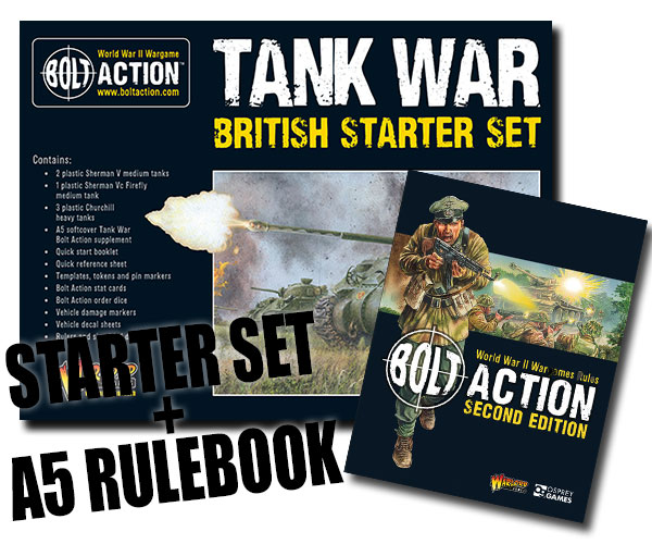 Box Cover for Bolt Action British Tank War Starter Set with A5 Bolt Action Rulebook