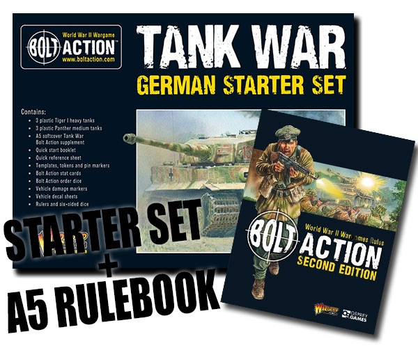 Box Cover for Bolt Action German Tank War Starter Set with A5 Bolt Action Rulebook