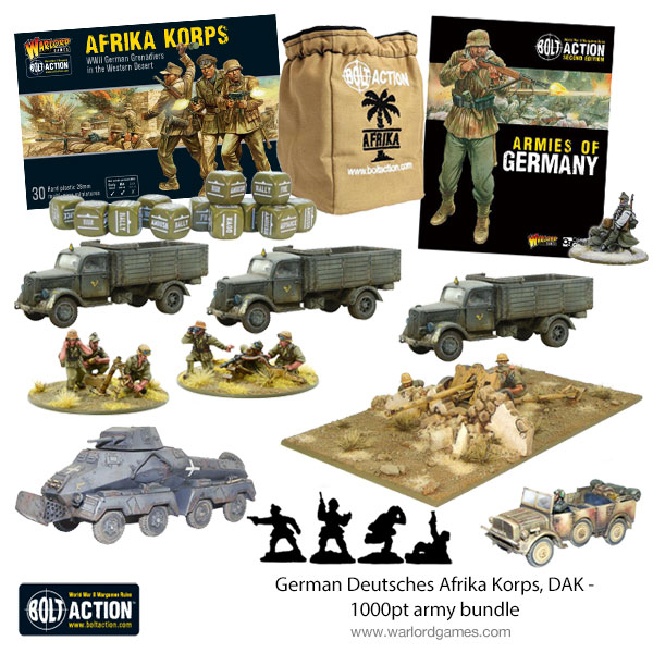 New Bolt Action German Deutsches Afrika Korps DAK 1000 Point Army Bundle