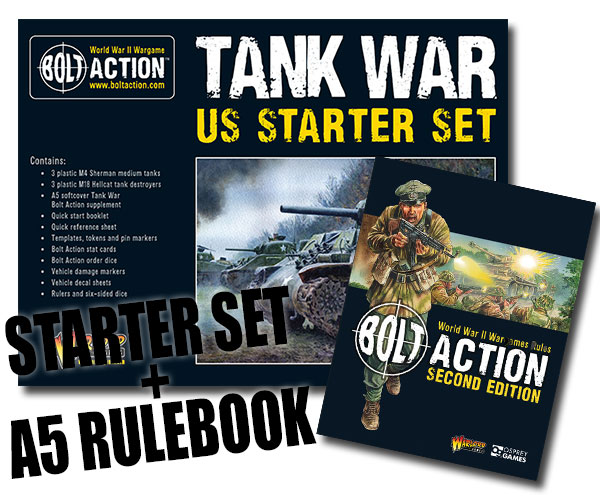 Box Cover for Bolt Action US Tank War Starter Set with A5 Bolt Action Rulebook