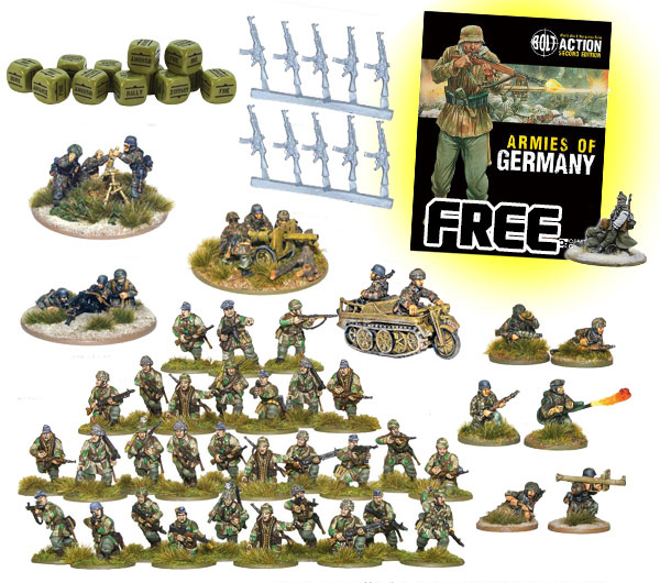 New Bolt Action German Fallschirmjager Starter Set 1943-45 1000pt Armies