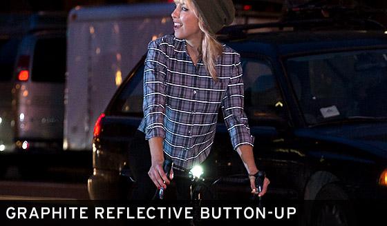 Graphite Reflective Button-Up