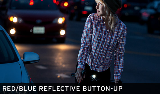 Red/Blue Reflective Button-Up