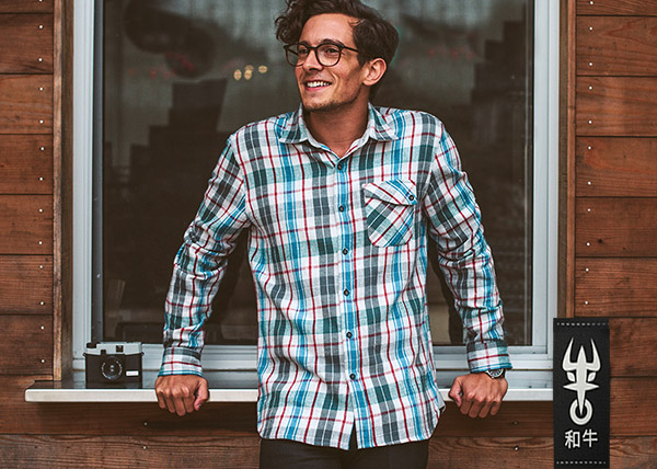 Gray Kobe Flannel Shirt, from designer Tomo Saito