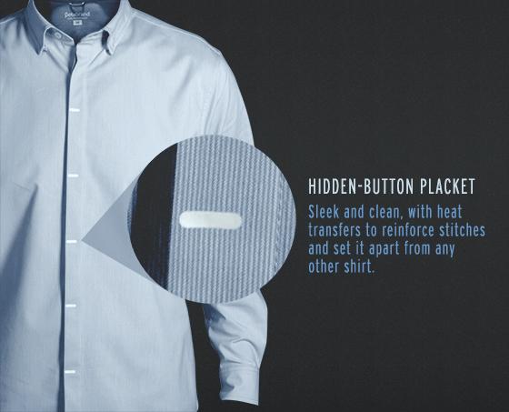 READY Button-Down Shirt is a performance dress shirt with a hidden-button placket