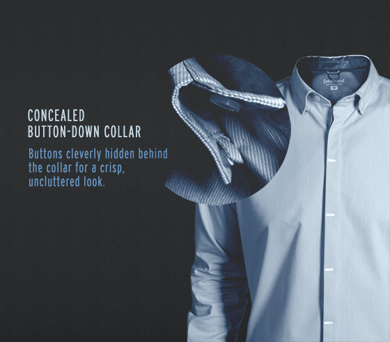 The READY Button-Down Shirt is a performance dress shirt featuring a concealed button-down collar.