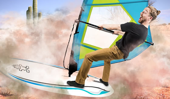 Haboob Sons of Britches Pants from Betabrand surf the desert sands