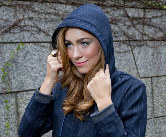Our New Women's Navy Executive Pinstripe Hoodie