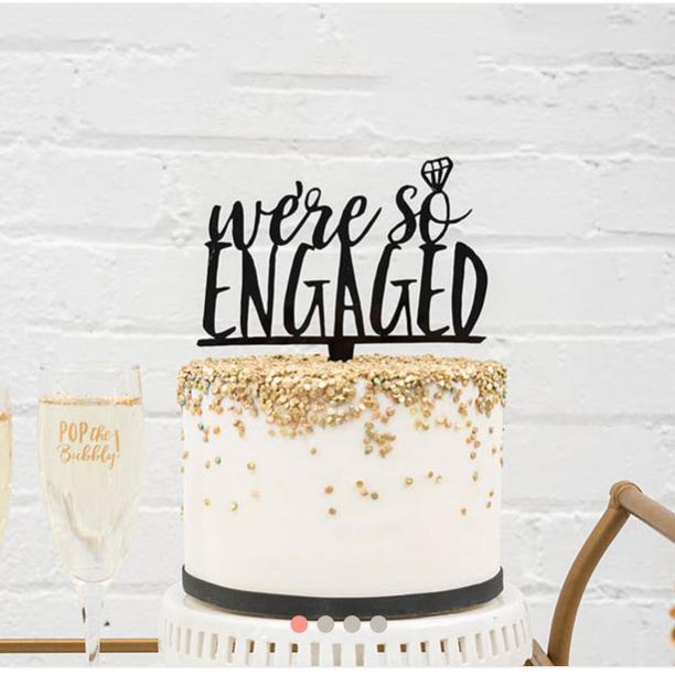 We're So Engaged Diamond Cake Topper