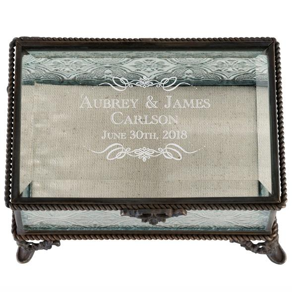 Personalized Rustic Rectangular Glass Wedding Ring Box with Scroll