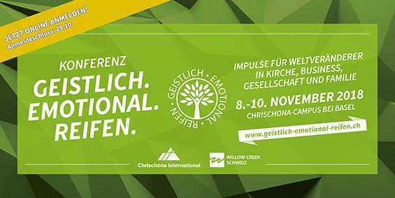 Konferenz «geistlich.emotional.reifen.» vom 8. bis 10. November 2018 auf dem Chrischona-Campus