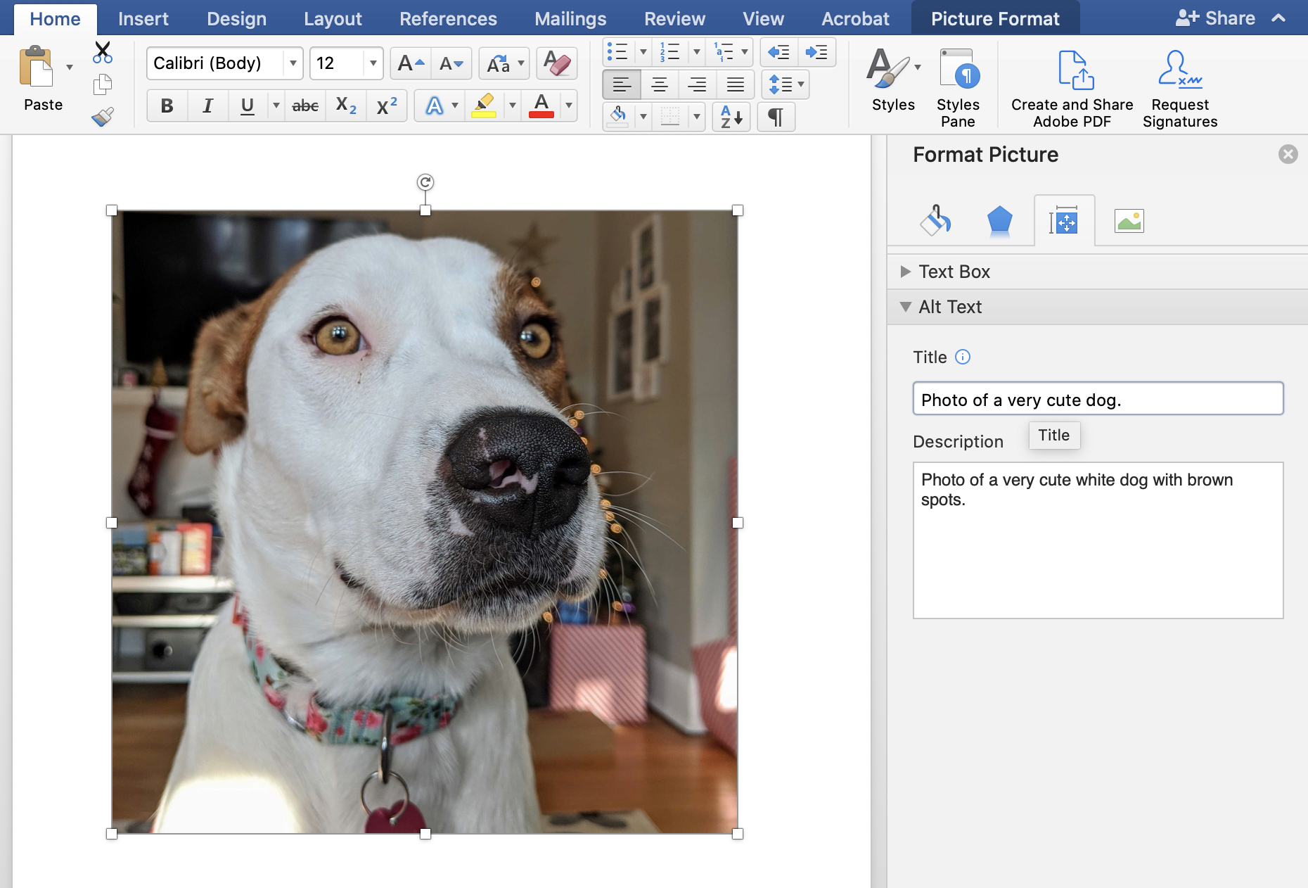 "A screenshot of a dog image in a Word document, with a menu bar on the right side giving an option to put alt text: ""Photo of a very cute white dog with brown spots""."