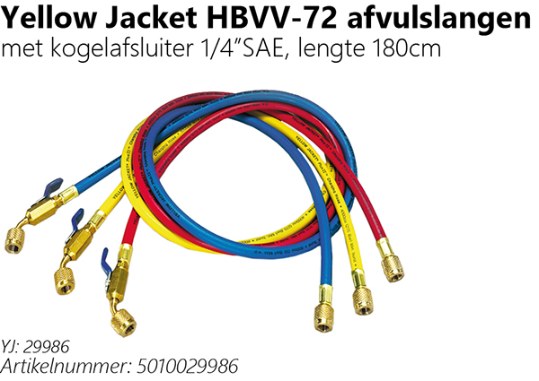 "Yellow Jacket HBVV-72 afvulslangen  met kogelafsluiter 1/4""SAE, lengte 180cm"