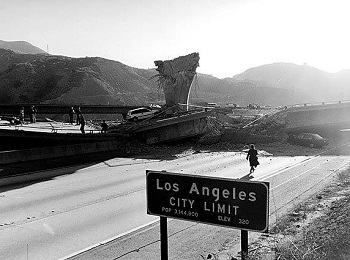 Photo of damage from the Northridge Earthquake which occurred 25 years ago.