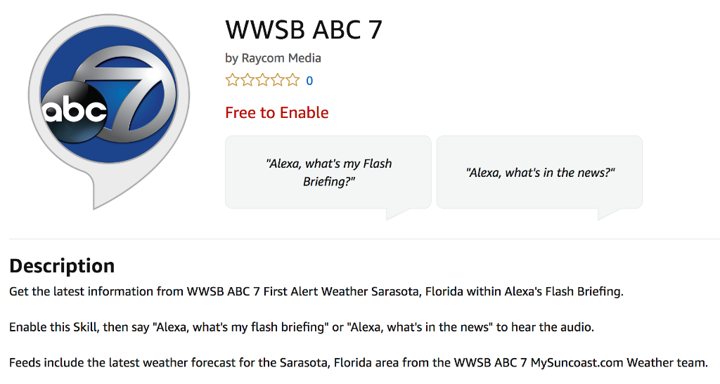 WWSB using Field59 JSON feed of their video content for Amazon's Alexa