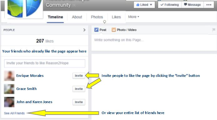 "Invite friends to like the page by clicking ""Invite"" next to their names at the top left of the Reason2Hope page"