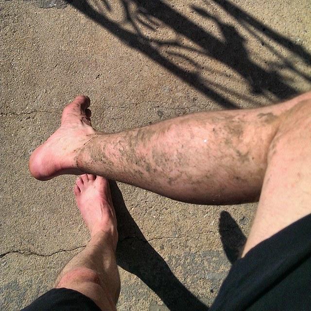 Muddy, pasty legs.