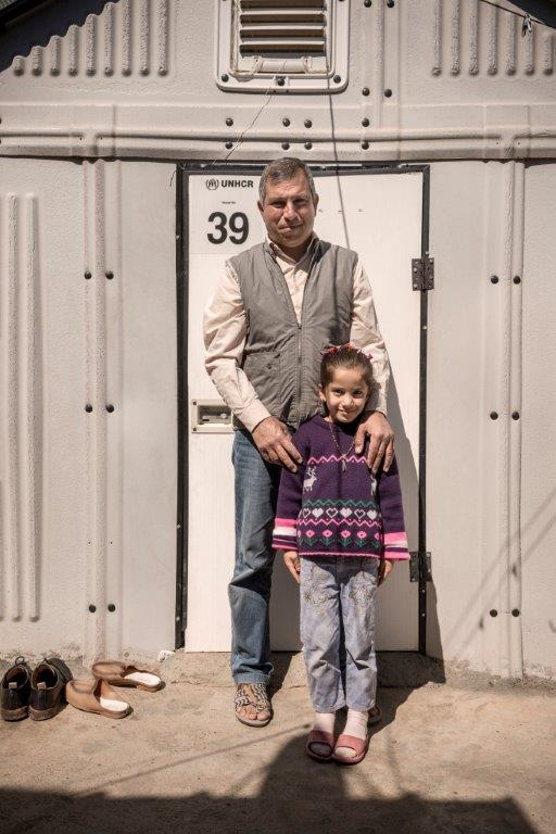 Lukhman with daughter, Kawergosk Refugee Camp, Erbil, Iraq March 2015 Photo: © Better Shelter