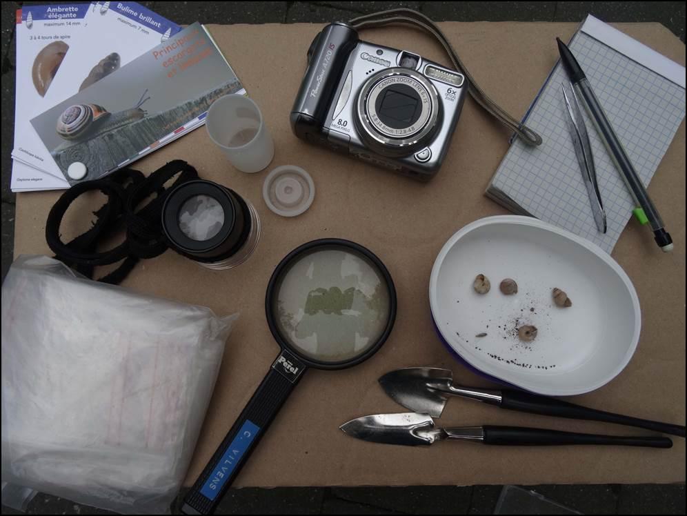 Une partie du matériel utilisé lors de la prospection...