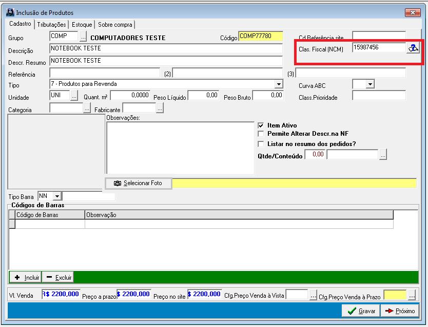 Edição de produtos no sistema da Softvaires, alterando NCM