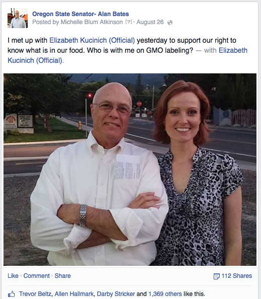 Alan Bates on Facebook with Elizabeth Kucinich