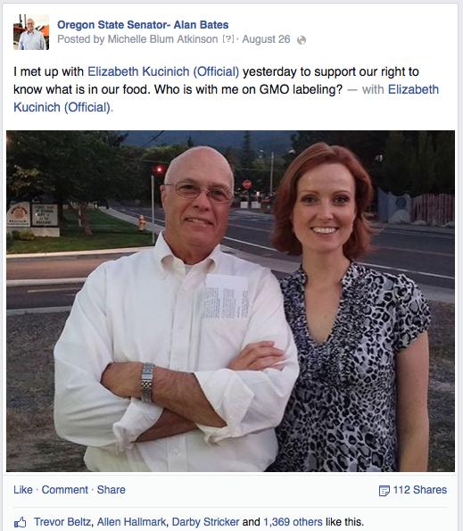 Alan Bates on Facebook with Elizabeth Kucinich