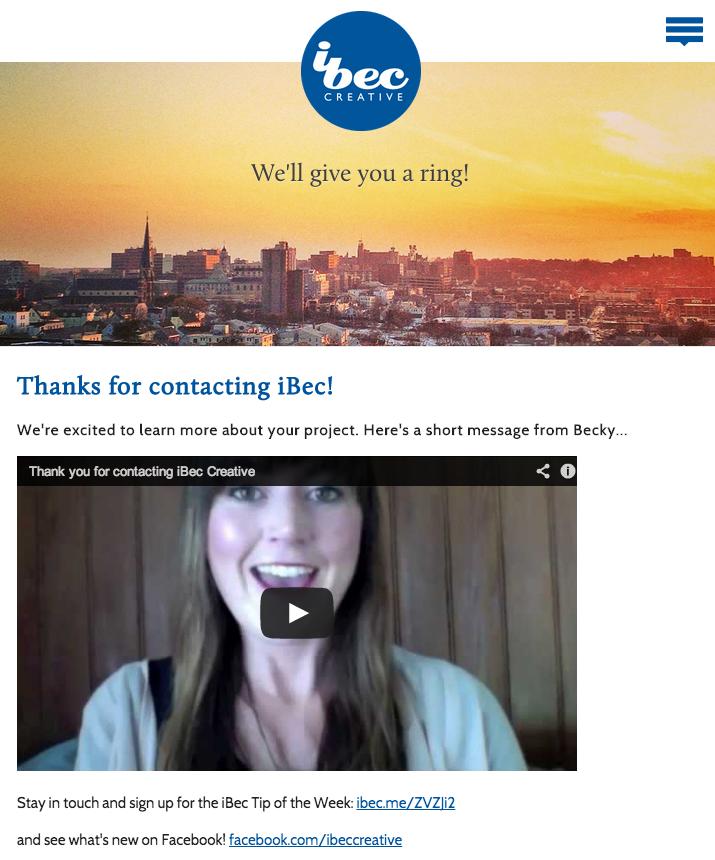 iBec Creative Thank You Page