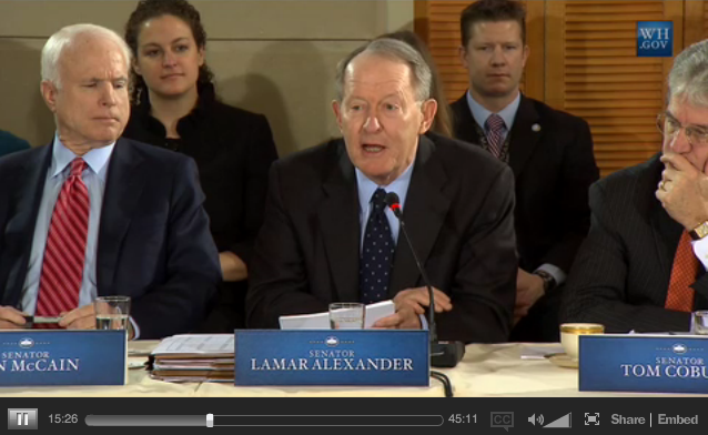 Lamar Alexander Poses for Cameras on Obamacare