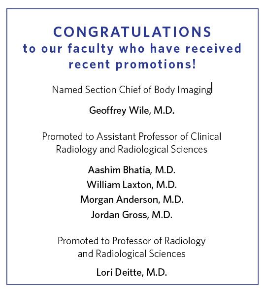 VUMC Radiology recent promotions