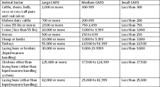 Number of animals to meet CAFO definitions