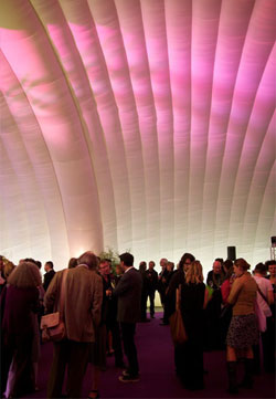Interior view of our award-winning inflatable event space