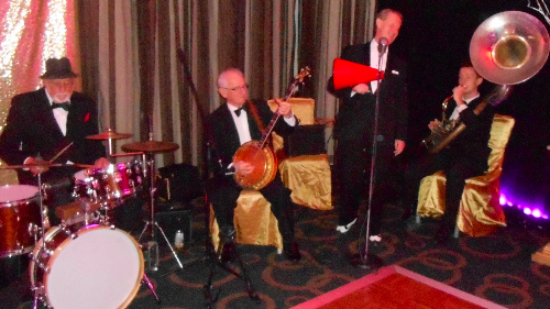 Dancing to Greg Poppleton and the Bakelite Broadcasters at a corporate event