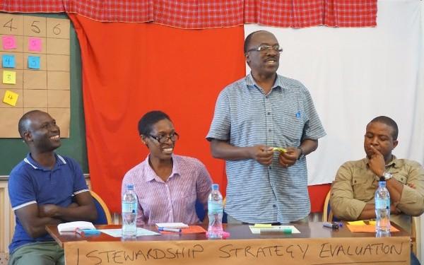 Peer reviewed group work featuring Lukas Kwezi (DFID Tanzania), Lucy Magembe (TNC), Herbert Kashililah (Shahidi wa Maji) and Onesmo Sigalla (WRG 2030)