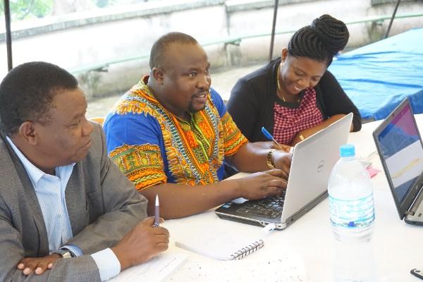 Group work featuring Eng. Christopher Sayi (National Water Board), Keven Robert (WWF - Tanzania) ad Pendo Hyera (Shahidi wa Maji)