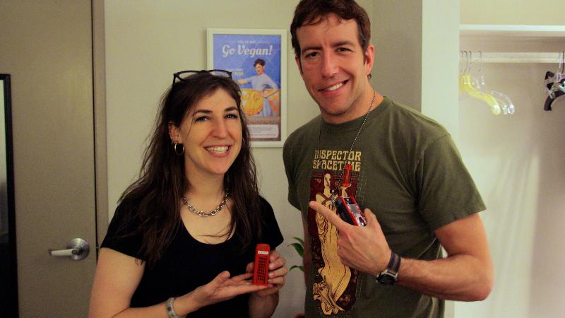 Mayim Bialik and Travis Richey after the line recording!